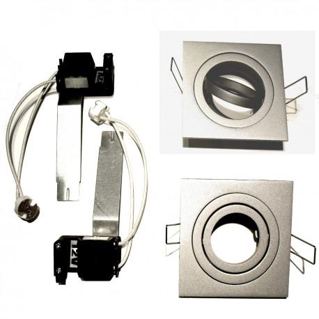 Spot orientable carré métal chromé encastrable Ø 77 GIRO316/GRIS/310106