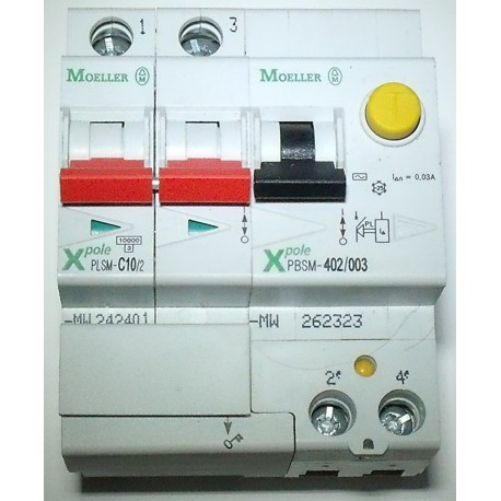 MOELLER Disjoncteur 10A + module différentiel 30mA