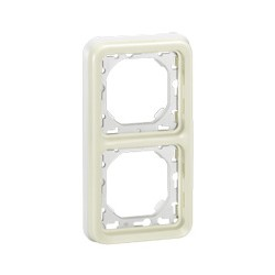 SUPPORT PLAQUE PROGRAMME PLEXO COMPOSABLE BLANC - 2 POSTES HORIZONTAL