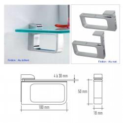 Support tablette verre ou bois 4 à 30 mm Alu Mat (la paire) MSA D 9982