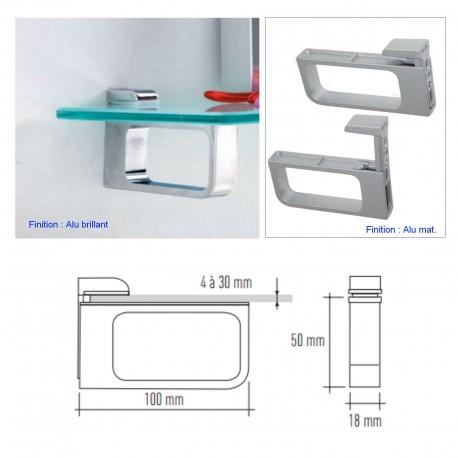 Support tablette verre ou bois 4 à 30 mm (la paire) MSA D 9982