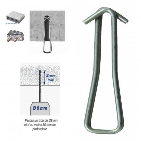 Crochet sans cheville pour Ø 8 mm charge 75 kg Coef 3:1 Gripple GRIHK100