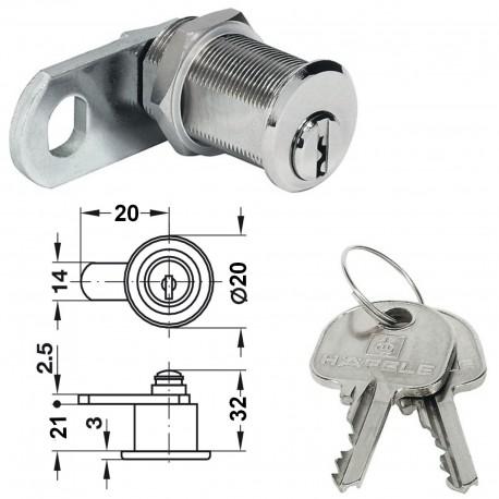 Serrure batteur cylindrique nickelée HAFELE 233 33 100