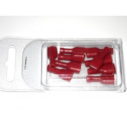 Cosse plate Faston 6.4 mm - Rouge (lot 10 pcs)